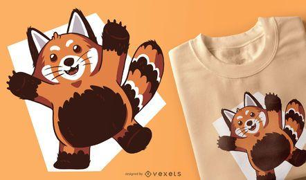 Diseño de la camiseta del panda rojo