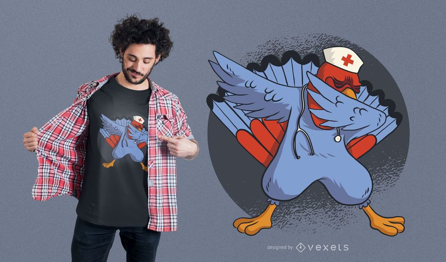 Diseño de camiseta Turkey Dab Nurse