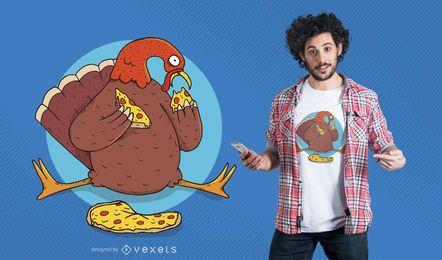 Diseño de camiseta de pizza de pavo