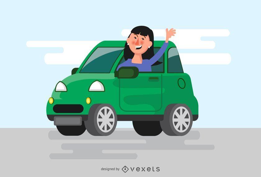 Mujer saludando desde la ilustración del coche