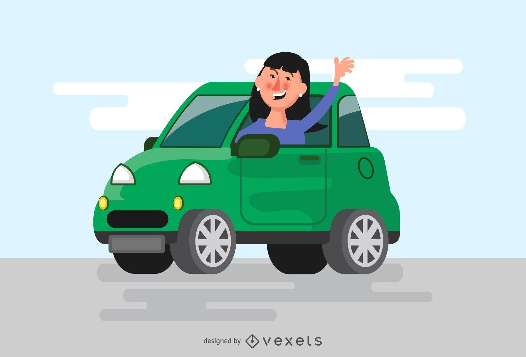Woman waving from car illustration