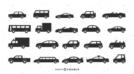Fahrzeuge Silhouette Symbolsatz