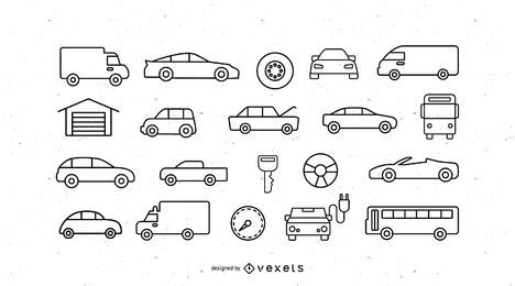 Vehicles stroke icon set