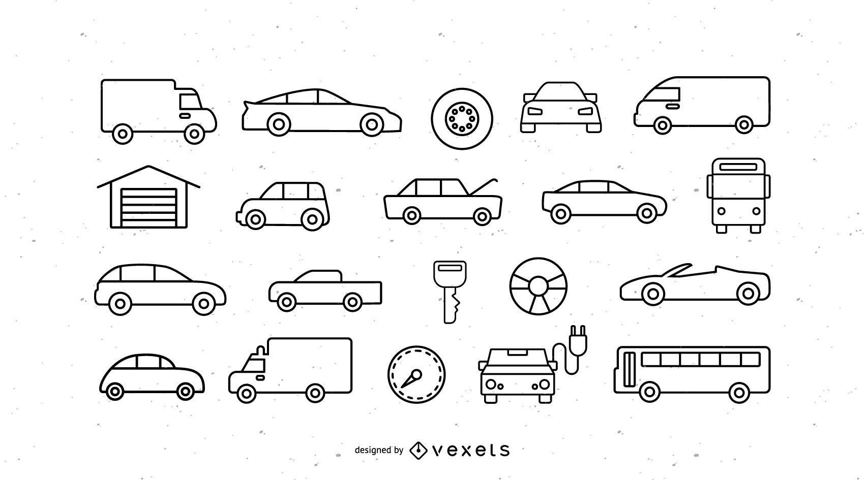 Vehicles stroke icon set