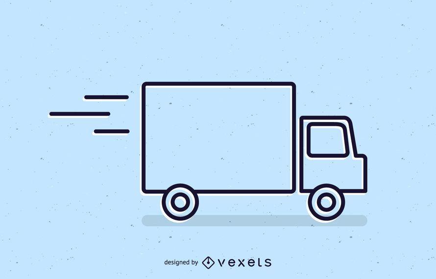 Icono de trazo de camión de entrega