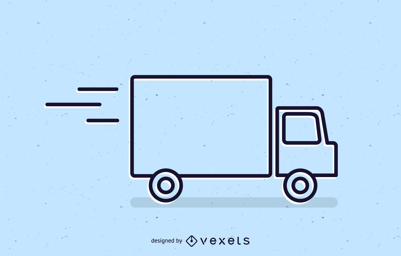 Delivery truck stroke icon