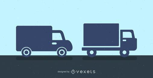 Ícone de silhueta de caminhões de entrega