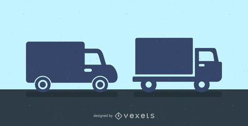 Delivery trucks silhouette icon