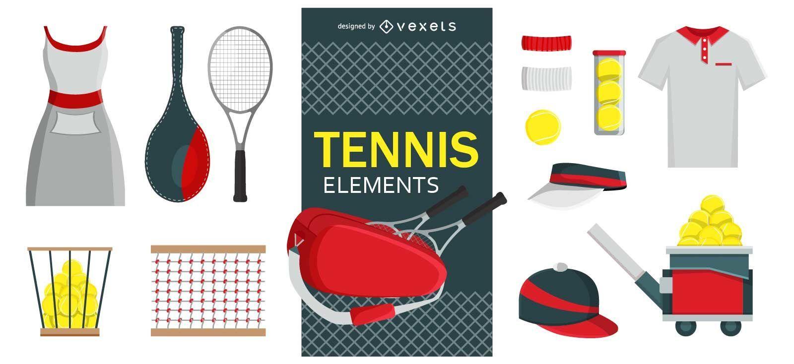 Conjunto de elementos de diseño de tenis