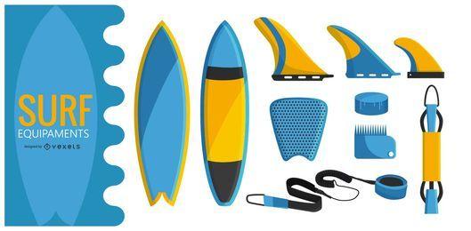 Conjunto de ilustración de equipo de surf