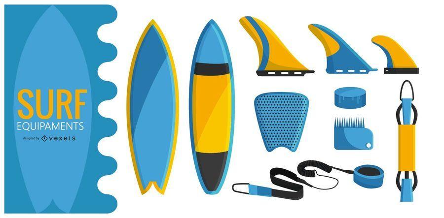 Surf equipment illustration set