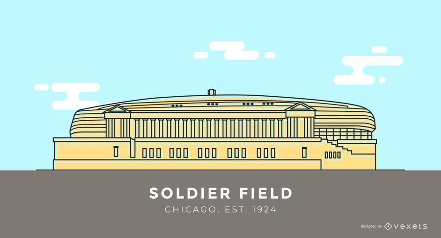 Soldier Field stadium cartoon