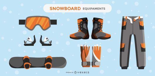 Conjunto de elementos de design de equipamento de snowboard