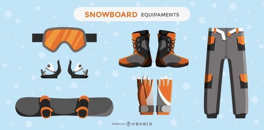 Conjunto de elementos de diseño de equipos de snowboard