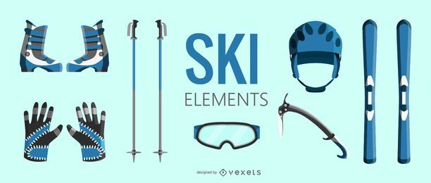 Conjunto de elementos de equipamiento de esquí.