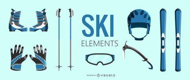Conjunto de elementos de equipo de esquí.