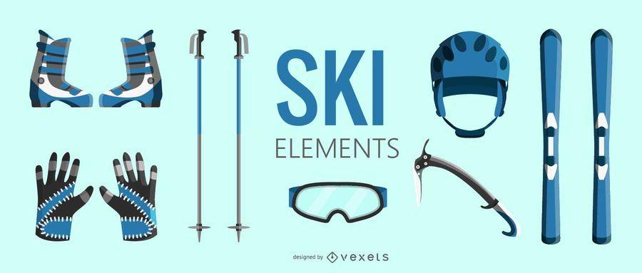 Conjunto de elementos de equipamento de esqui