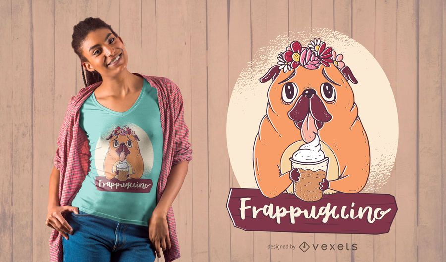 Projeto do t-shirt de Frappuccino do Pug