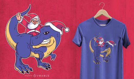Santa T-Rex T-shirt Design
