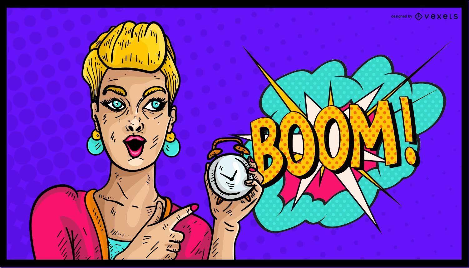 Comic Woman Boom Illustration