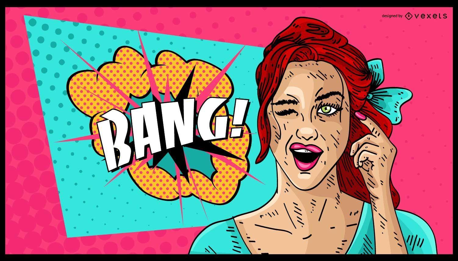 Diseño de explosión de mujer cómica