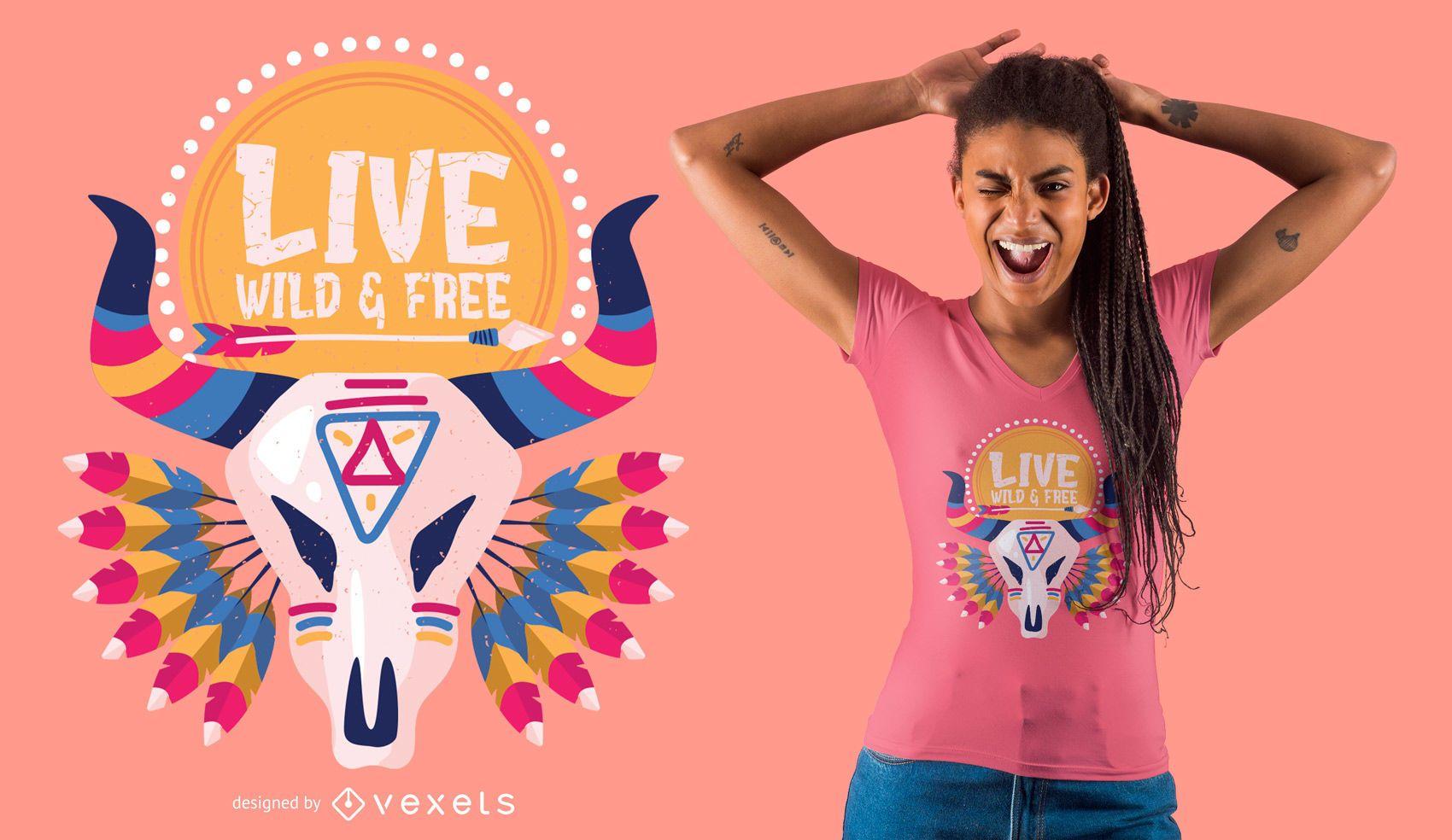 Diseño de camiseta Live Wild & Free