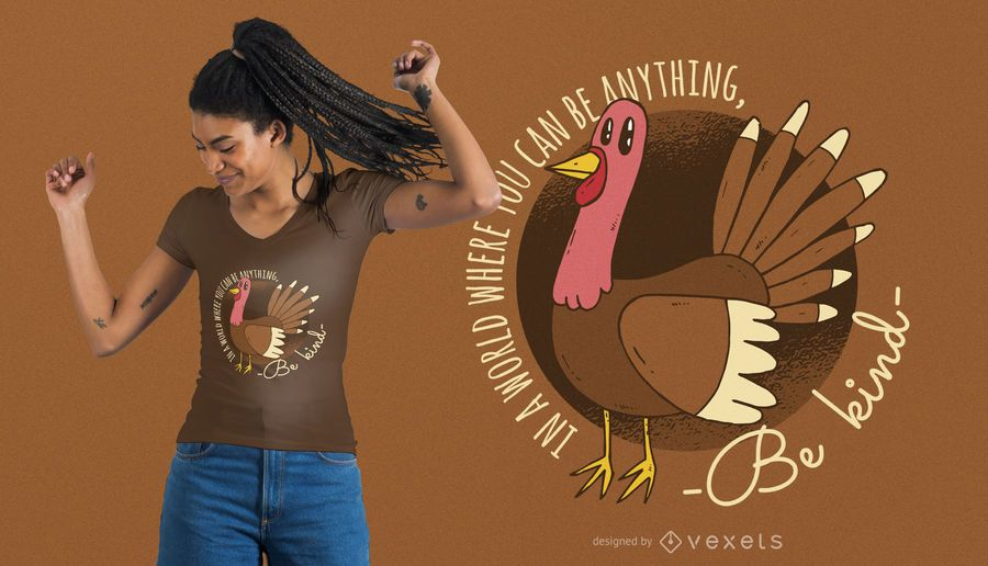 Kind Turkey Thanksgiving T-shirt Design