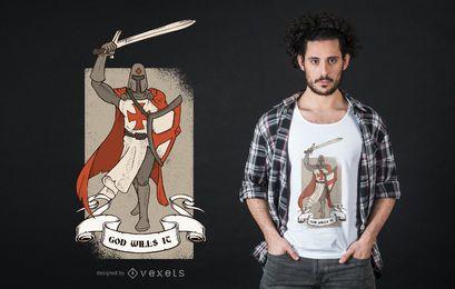Diseño de la camiseta de la cita del cruzado