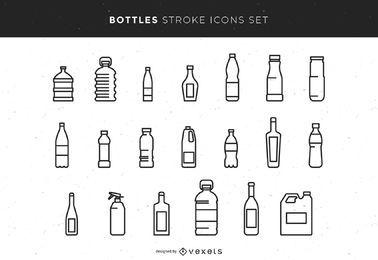 Flaschen Strich Icons Set