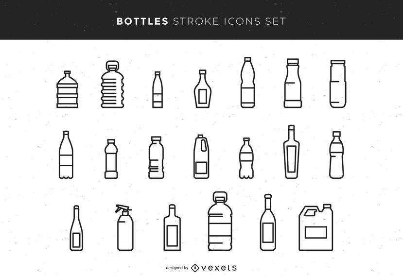 Conjunto de ícones de traçado de garrafas