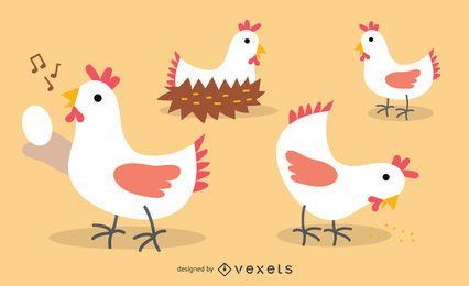 Conjunto de ilustración de pollo plano
