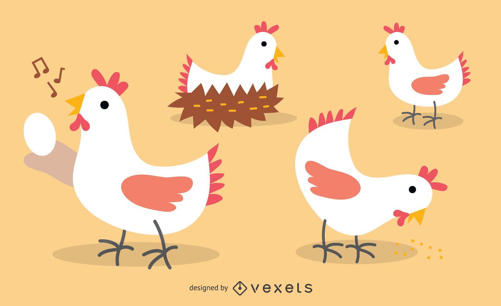 Flat Chicken Illustration Set