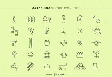Conjunto de iconos de trazo de jardinería