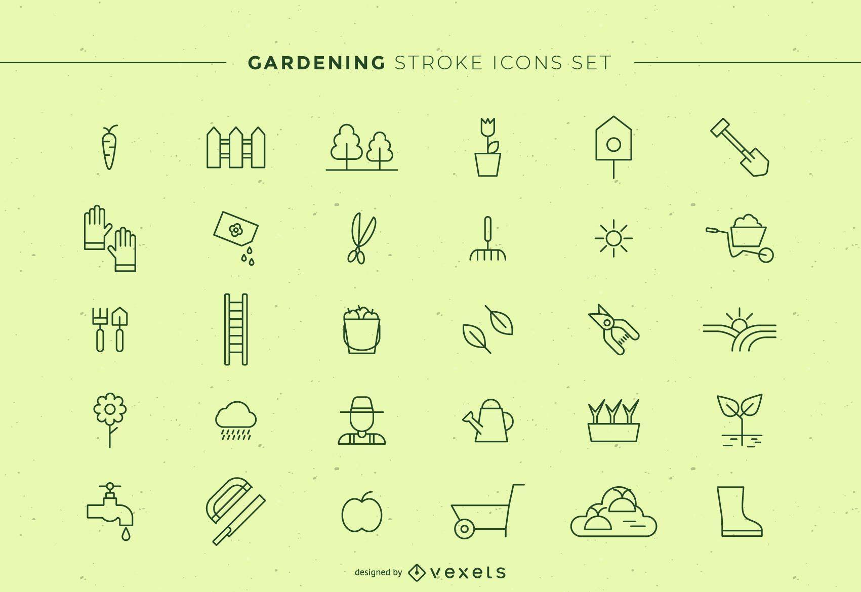 Gardening Stroke Icons Set