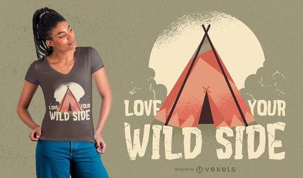 Amo tu lado salvaje diseño de la camiseta