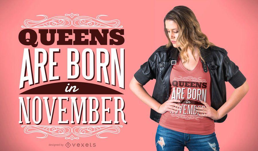 Diseño de camiseta Queens Are Born