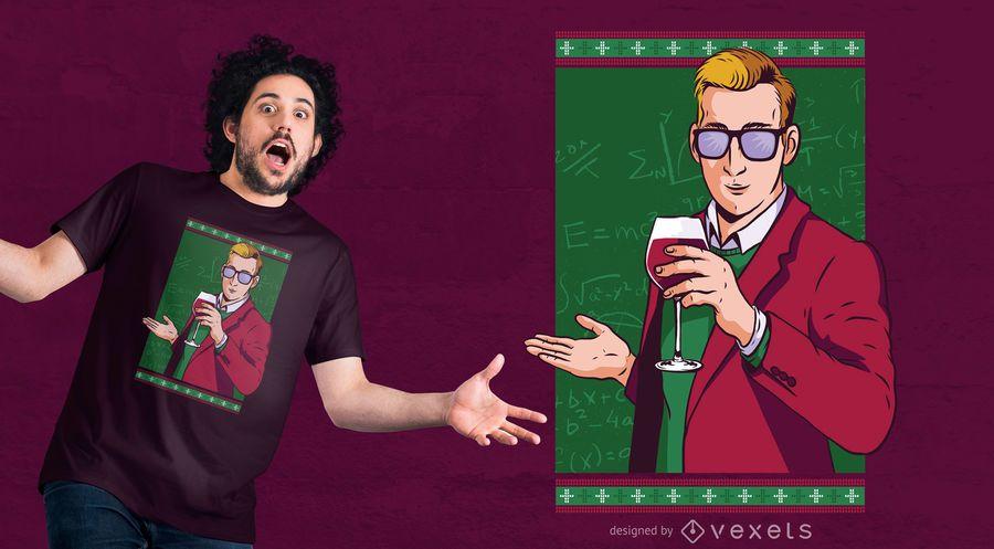 Projeto do t-shirt do Natal do vinho do professor