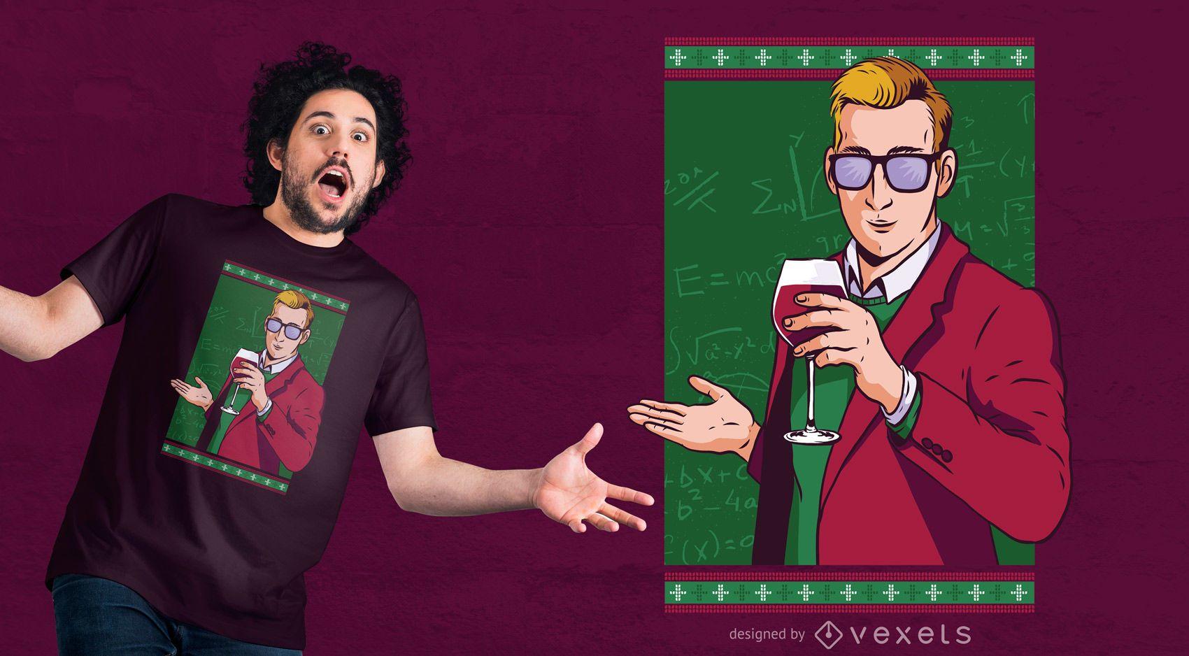 Diseño de camiseta Teacher Wine Christmas