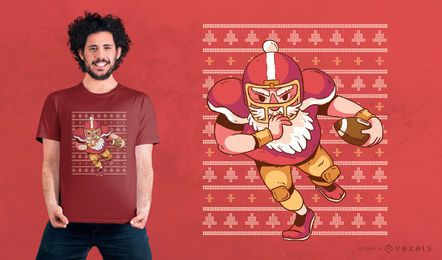 Santa Football Weihnachten T-Shirt Design