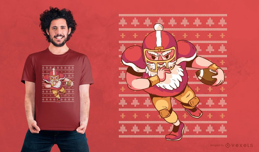 Santa Football Christmas T-shirt Design