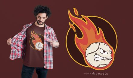 Diseño de camiseta de béisbol de fuego