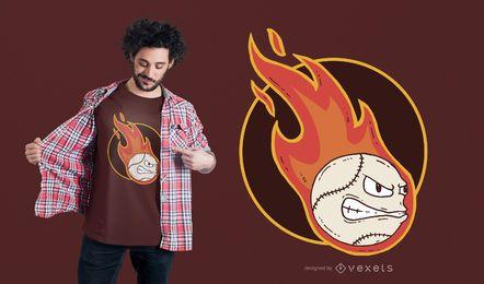 Projeto do t-shirt do basebol do fogo