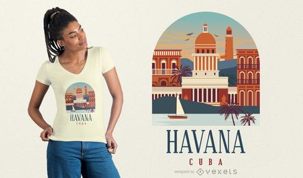 Projeto do t-shirt de Havana Cuba
