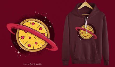 Projeto do t-shirt do planeta da pizza
