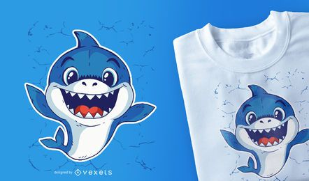 Projeto do t-shirt do tubarão do bebê