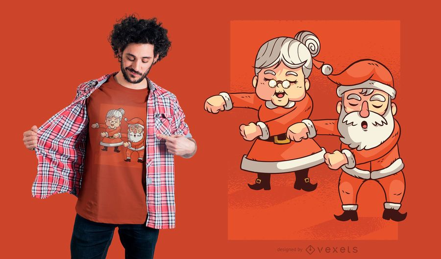Projeto do t-shirt do Sr. Sra. Claus de Floss