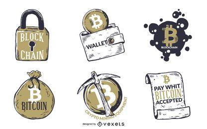 Conjunto de insignias ilustradas de Bitcoin.