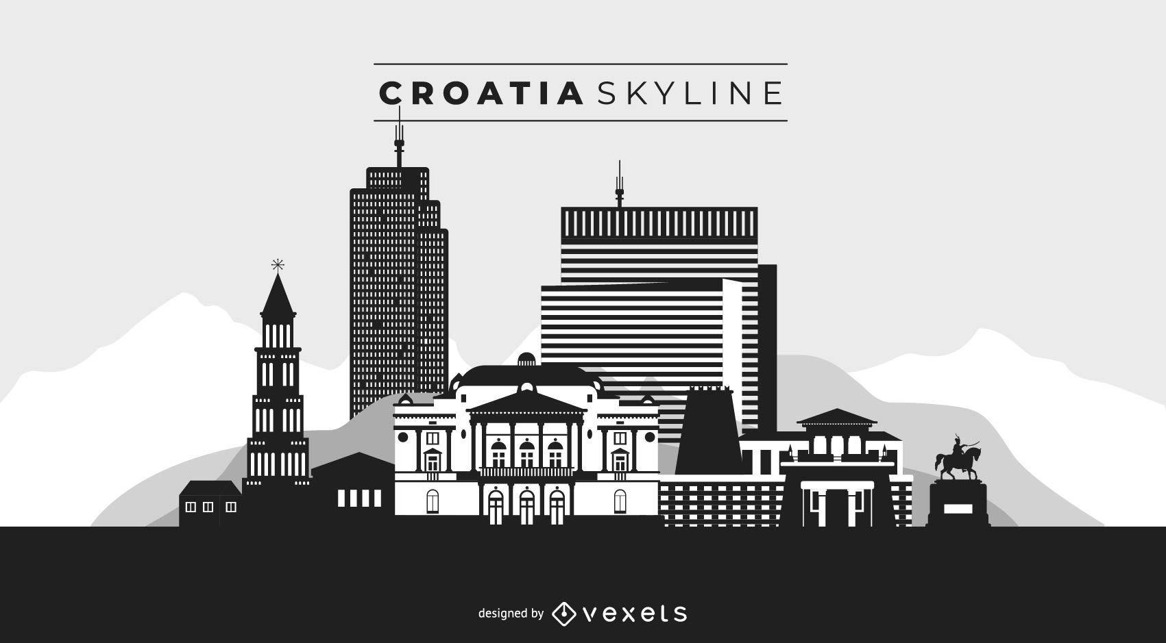 Croatia skyline black and white