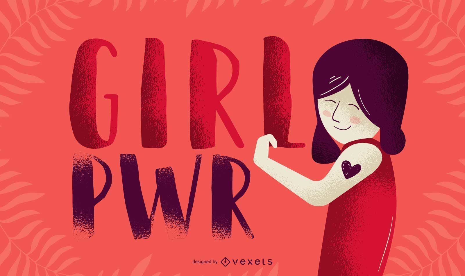 Girl pwr flexing illustration