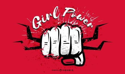 Girl power fist illustration